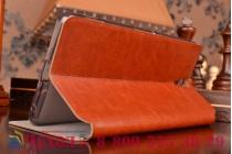 """Фирменный чехол-книжка из качественной водоотталкивающей импортной кожи на жёсткой металлической основе для Sony Xperia C5 Ultra / C5 Ultra Dual E5533 E5563/ T4 Ultra 6.0"""" коричневый"""