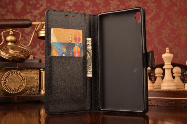 """Фирменный чехол-книжка для Sony Xperia C6 / C6 Ultra / XA Ultra 6.0"""" (F3212 /F3216)  с визитницей и мультиподставкой черный кожаный"""