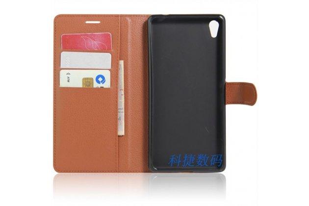 """Фирменный чехол-книжка для  Sony Xperia C6 / C6 Ultra / XA Ultra 6.0"""" (F3212 /F3216)  с визитницей и мультиподставкой коричневый кожаный"""
