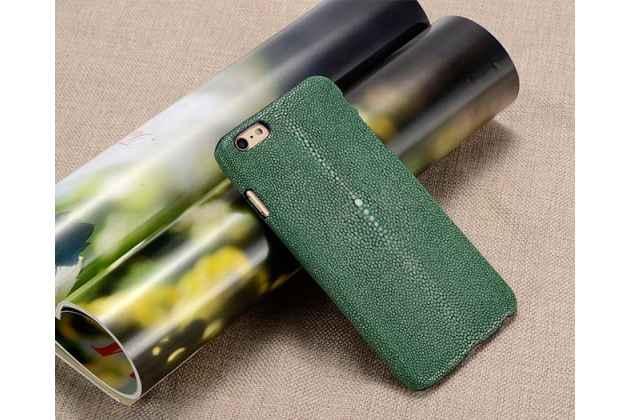 """Фирменная роскошная эксклюзивная накладка  из натуральной рыбьей кожи СКАТА (с жемчужным блеском) зелёный для  Sony Xperia C6 / C6 Ultra / XA Ultra 6.0"""" (F3212 /F3216) Только в нашем магазине. Количество ограничено"""