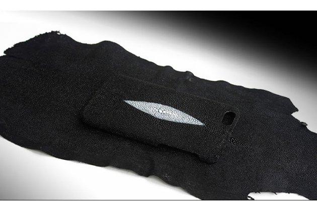 """Фирменная роскошная эксклюзивная накладка  из натуральной рыбьей кожи СКАТА (с жемчужным блеском) чёрный для  Sony Xperia C6 / C6 Ultra / XA Ultra 6.0"""" (F3212 /F3216) Только в нашем магазине. Количество ограничено"""