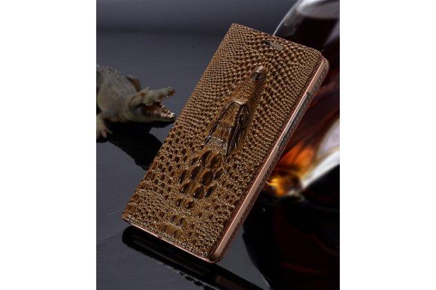 """Фирменный роскошный эксклюзивный чехол с объёмным 3D изображением кожи крокодила коричневый для  Sony Xperia C6 / C6 Ultra / XA Ultra 6.0"""" (F3212 /F3216). Только в нашем магазине. Количество ограничено"""
