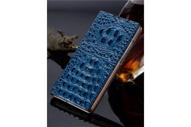 """Фирменный роскошный эксклюзивный чехол с объёмным 3D изображением рельефа кожи крокодила синий для Sony Xperia C6 / C6 Ultra / XA Ultra 6.0"""" (F3212 /F3216). Только в нашем магазине. Количество ограничено"""