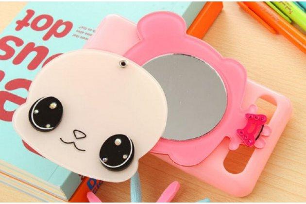 """Фирменная уникальная необычная силиконовая накладка-бампер для Sony Xperia E1/ E1 Dual D2005/ D2105 """"тематика Человечик"""" розовая с зеркальцем"""