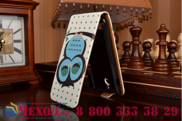"""Фирменный вертикальный откидной чехол-флип для Sony Xperia E1/ E1 Dual D2005/ D2105 """"тематика Сова"""""""