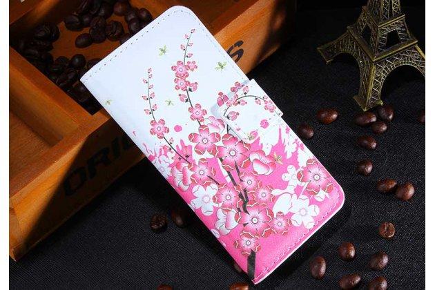 """Фирменный уникальный необычный чехол-книжка для Sony Xperia E1/ E1 Dual """"тематика цветок Сакуры"""""""