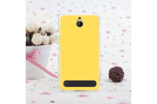 Фирменная ультра-тонкая полимерная из мягкого качественного силикона задняя панель-чехол-накладка для Sony Xperia E1/ E1 Dual D2005/ D2105 желтая
