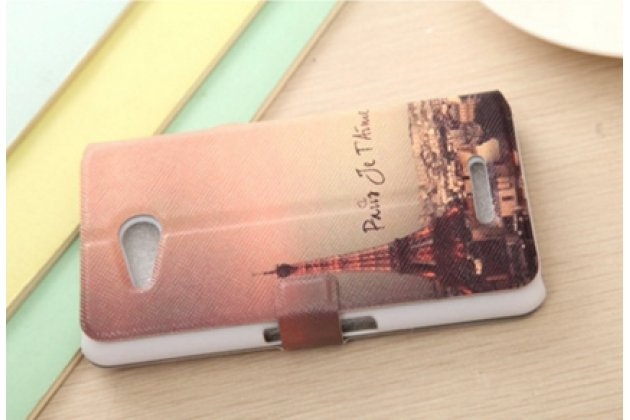 """Фирменный уникальный необычный чехол-подставка для Sony Xperia E4G/ E4G Dual E2003/E2033 """"тематика Париж"""" с окошком для входящих вызовов"""