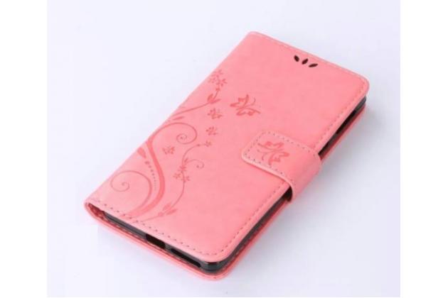 """Фирменный роскошный чехол-книжка безумно красивым расписным рисунком """"Золотая бабочка"""" для Sony Xperia E5 розовый"""