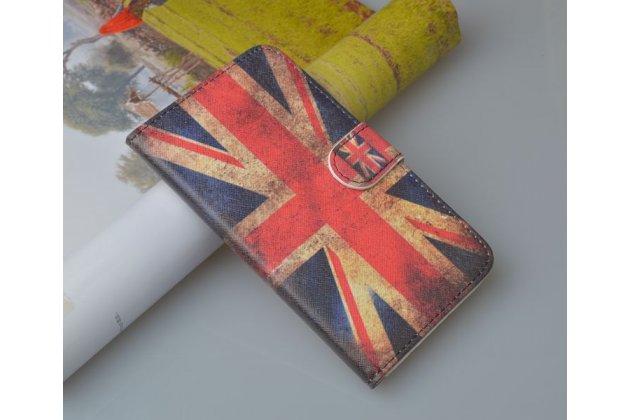 """Фирменный уникальный необычный чехол-книжка для Sony Xperia L S36h (C2105) """"тематика Британский флаг"""""""