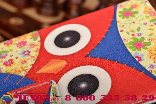 """Фирменный уникальный необычный чехол-книжка для Sony Xperia M2 Aqua D2403 (S50h)  """"тематика Сова"""""""