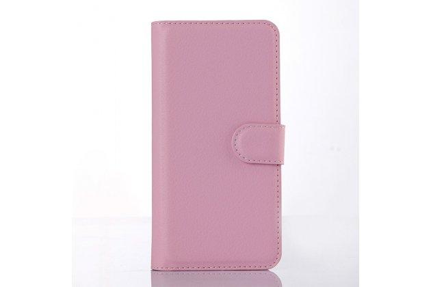 Фирменный чехол-книжка из качественной импортной кожи с подставкой и визитницей для Sony Xperia M2 Aqua D2403 розовый