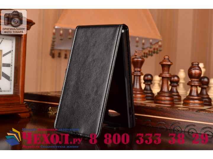 Фирменный оригинальный вертикальный откидной чехол-флип для Sony Xperia M2 Dual D2302  черный кожаный