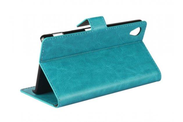 Фирменный чехол-книжка из качественной импортной кожи с подставкой застёжкой и визитницей для Sony Xperia M4 Aqua E2303/E2306/E2312/E2333 бирюзовый