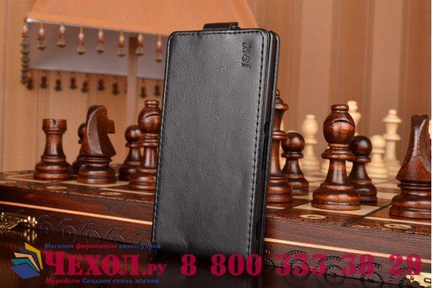 Фирменный оригинальный вертикальный откидной чехол-флип для Sony Xperia M4 Aqua черный кожаный