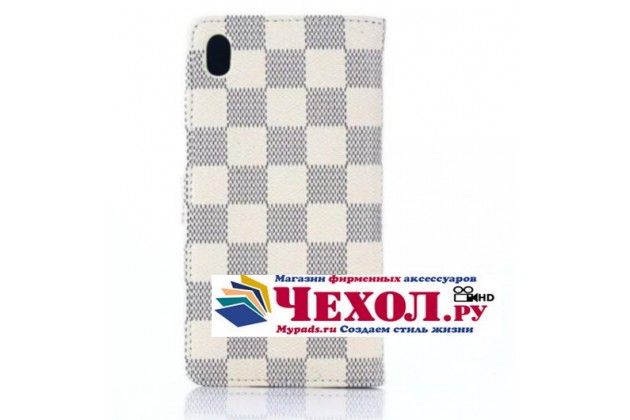 Фирменный уникальный необычный чехол-книжка для Sony Xperia M4 Aqua/Aqua Dual E2303/E2306/E2312/E2333  белый в клетку