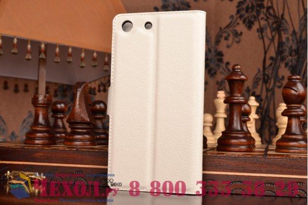 Фирменный чехол-книжка из качественной импортной кожи с мульти-подставкой застёжкой и визитницей для Сони Экспириа М5 Е5603 / М5 Дуал Е5633 белый