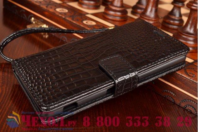 Фирменный чехол-книжка с подставкой для Sony Xperia M5 E5603/ M5 Dual E5633 лаковая кожа крокодила цвет черный