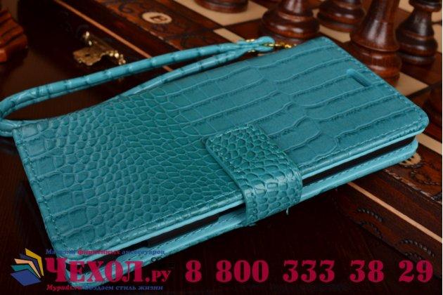 Фирменный чехол-книжка с подставкой для Sony Xperia M5 E5603/ M5 Dual E5633 лаковая кожа крокодила цвет морской волны бирюзовый