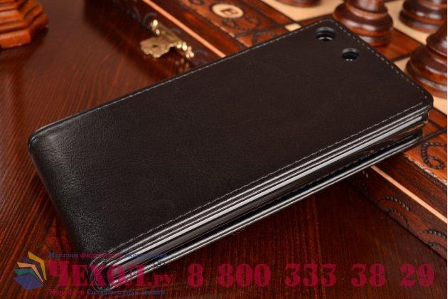 Фирменный оригинальный вертикальный откидной чехол-флип для Sony Xperia M5 E5603/ M5 Dual E5633 черный кожаный