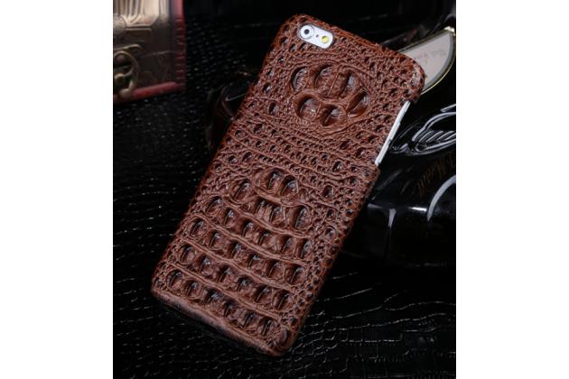 Фирменная элегантная экзотическая задняя панель-крышка с фактурной отделкой натуральной кожи крокодила кофейного цвета для Sony Xperia M5 E5603/ M5 Dual E5633. Только в нашем магазине. Количество ограничено.