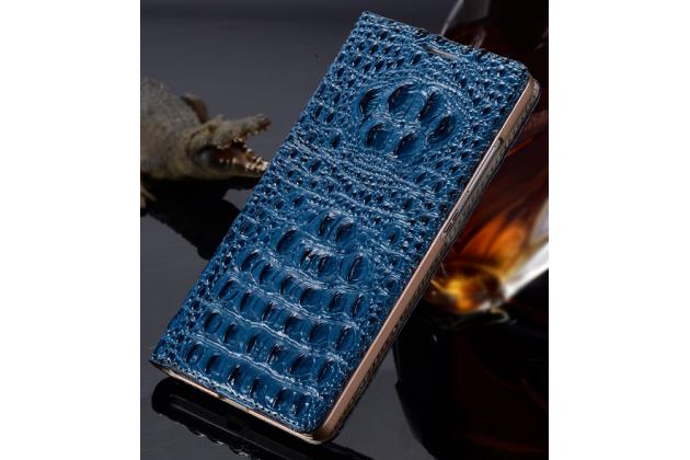 Фирменный роскошный эксклюзивный чехол с объёмным 3D изображением рельефа кожи крокодила синий для Sony Xperia M5 E5603/ M5 Dual E5633. Только в нашем магазине. Количество ограничено