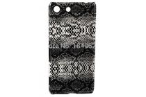 """Ультра-тонкая пластиковая задняя панель-крышка для Sony Xperia M5 E5603/ M5 Dual E5633  """"змеиная кожа"""" черный"""