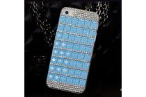 Фирменная роскошная задняя-панель-накладка декорированная кристалликами на Sony Xperia V (LT25i) синяя