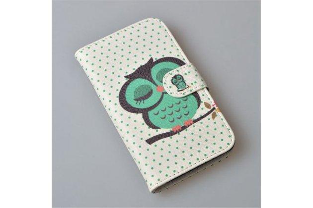 Фирменный уникальный необычный чехол-книжка для Sony Xperia V (LT25i) тематика Сова