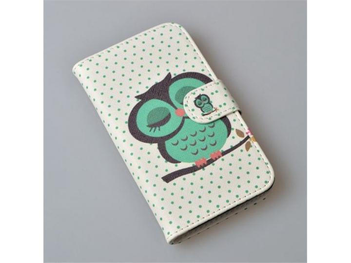 Фирменный уникальный необычный чехол-книжка для Sony Xperia V (LT25i) тематика Сова..