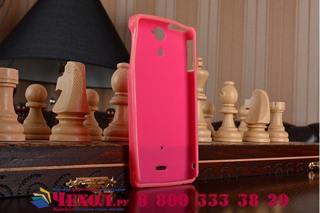 Фирменная ультра-тонкая полимерная из мягкого качественного силикона задняя панель-чехол-накладка для Sony Xperia V (LT25i) розовая