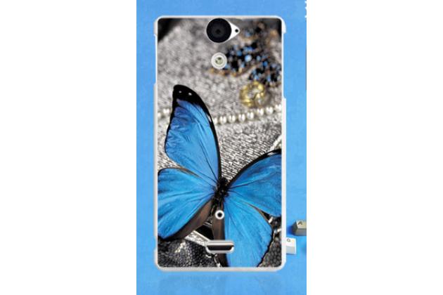 """Фирменная необычная уникальная из легчайшего и тончайшего пластика задняя панель-чехол-накладка для Sony Xperia V (LT25i)  """"тематика Бабочка"""""""