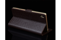 """Фирменный роскошный эксклюзивный чехол с фактурной прошивкой рельефа кожи крокодила и визитницей черный для Sony Xperia X Performance/ X Performance Dual 5.0"""" (F8131/ F8132) . Только в нашем магазине. Количество ограничено"""