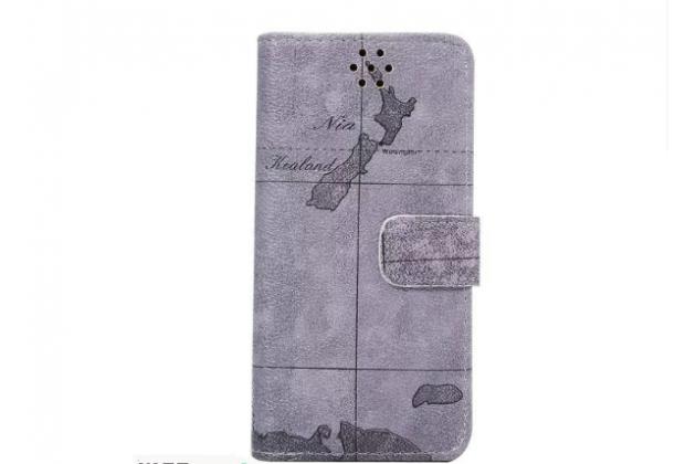 "Фирменный чехол-книжка для  Sony Xperia X Performance/ X Performance Dual 5.0"" (F8131/ F8132)  с визитницей и мультиподставкой кожаный тематика ""Карта мира"" серый"
