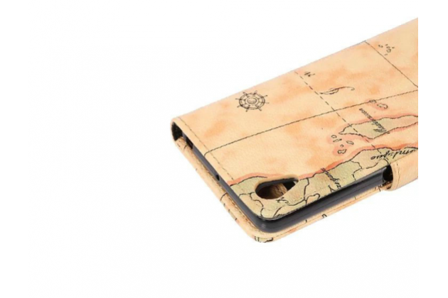 "Фирменный чехол-книжка для  Sony Xperia X Performance/ X Performance Dual 5.0"" (F8131/ F8132)  с визитницей и мультиподставкой кожаный тематика ""Карта мира"" желтый"