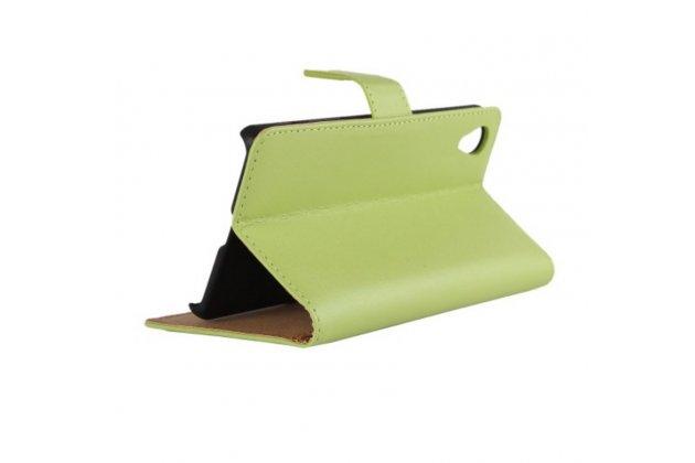 """Фирменный чехол-книжка из качественной импортной кожи с подставкой застёжкой и визитницей для Sony Xperia X / X Dual 5.0"""" (F5121 / F5122) зелёный"""