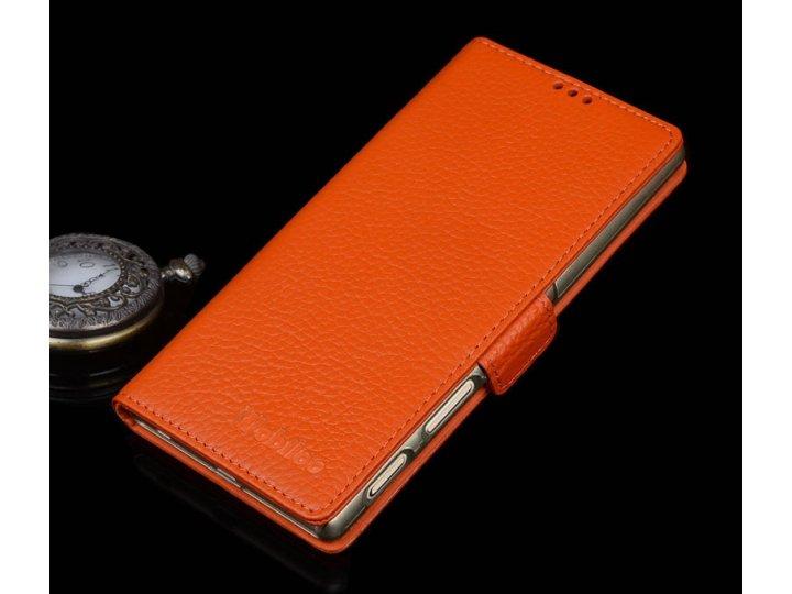 Фирменный роскошный эксклюзивный чехол с фактурной прошивкой рельефа кожи крокодила и визитницей оранжевый для..