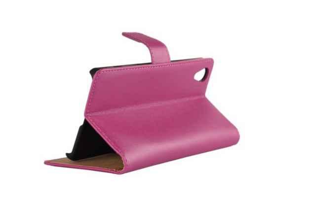 """Фирменный чехол-книжка из качественной импортной кожи с подставкой застёжкой и визитницей для Sony Xperia X / X Dual 5.0"""" (F5121 / F5122) розовый"""