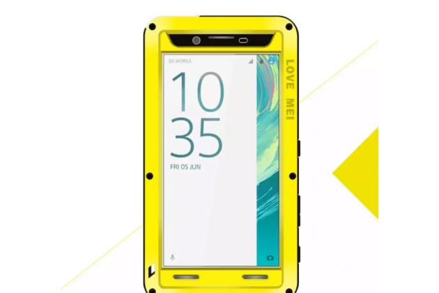"""Неубиваемый водостойкий противоударный водонепроницаемый грязестойкий влагозащитный ударопрочный фирменный чехол-бампер для Sony Xperia X / X Dual 5.0"""" (F5121 / F5122) цельно-металлический со стеклом Gorilla Glass желтый"""