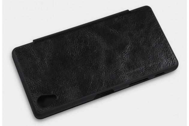 """Фирменный премиальный элитный чехол-книжка из качественной импортной кожи с мульти-подставкой и визитницей для Sony Xperia X / X Dual 5.0"""" (F5121 / F5122) """"Ретро"""" черный"""