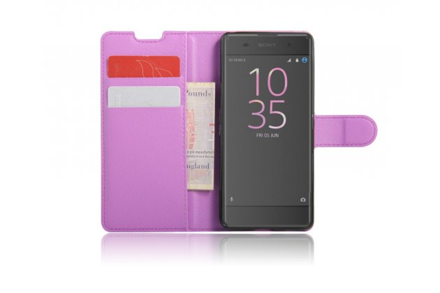 """Фирменный чехол-книжка из качественной импортной кожи с подставкой застёжкой и визитницей для Sony Xperia XA / XA Dual 5.0"""" (F3113/ F3112 / F3115 /E6533) фиолетовый"""