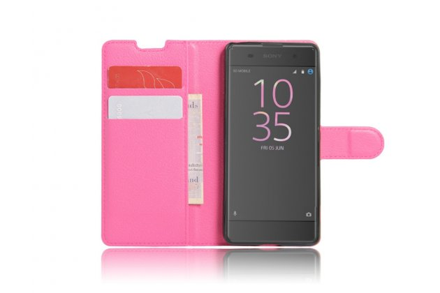 """Фирменный чехол-книжка из качественной импортной кожи с подставкой застёжкой и визитницей для Sony Xperia XA / XA Dual 5.0"""" (F3113/ F3112 / F3115 /E6533) розовый"""