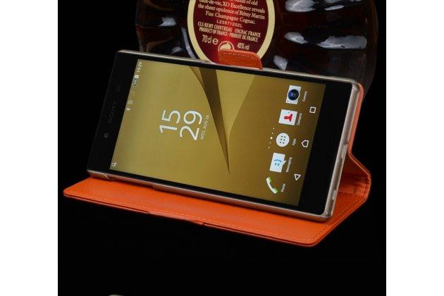"""Фирменный роскошный эксклюзивный чехол с фактурной прошивкой рельефа кожи крокодила и визитницей оранжевый для Sony Xperia XA / XA Dual 5.0"""" (F3113/ F3112 / F3115 /E6533) . Только в нашем магазине. Количество ограничено"""