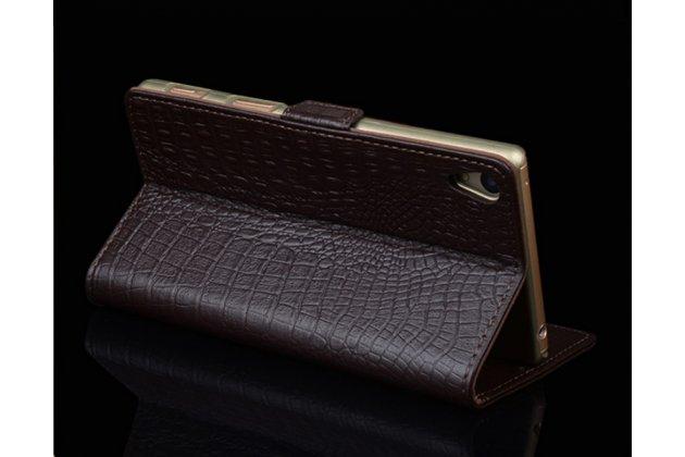 """Фирменный роскошный эксклюзивный чехол с фактурной прошивкой рельефа кожи крокодила и визитницей черный для Sony Xperia XA / XA Dual 5.0"""" (F3113/ F3112 / F3115 /E6533). Только в нашем магазине. Количество ограничено"""