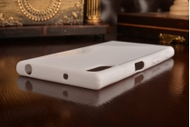 """Фирменная ультра-тонкая силиконовая задняя панель-чехол-накладка для Sony Xperia XZ Dual (F8332) 5.2"""" белая"""
