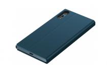 Фирменный оригинальный чехол Style Cover Stand SCSF10 с логотипом для Sony Xperia XZ/ XZs/ XZ Dual 5.2 (F8331 / F8332) и активной крышкой синего цвета