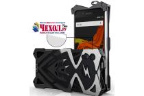 Противоударный металлический чехол-бампер из цельного куска металла с усиленной защитой углов и необычным экстремальным дизайном  для  Sony Xperia XZ/XZs/ XZ Dual 5.2 (F8331 / F8332) черного цвета