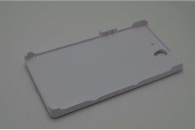 Чехол-бампер со встроенной усиленной мощной батарей-аккумулятором большой повышенной расширенной ёмкости 4200mAh для Sony Xperia Z C6602/C6603 белый + гарантия