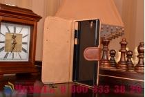 Фирменный чехол-книжка из качественной импортной кожи с подставкой и визитницей для Sony Xperia Z C6602/C6603 (L36h) коричневый