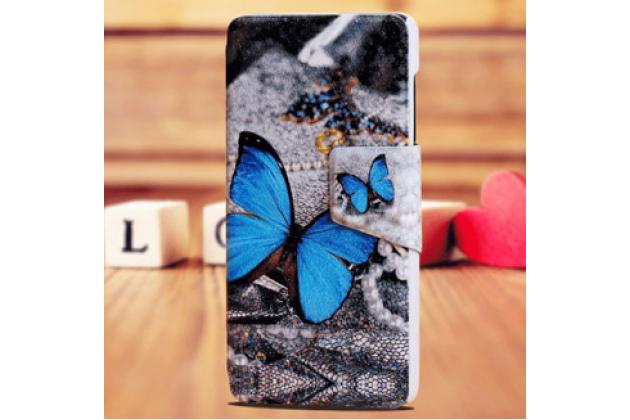 """Фирменный уникальный необычный чехол-книжка для Sony Xperia Z1 Compact D5503 """"тематика Бабочка"""""""